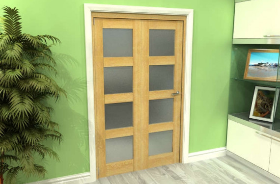 Frosted Glazed Oak 2 Door 4l Roomfold Grande (2 + 0 X 573mm Doors)