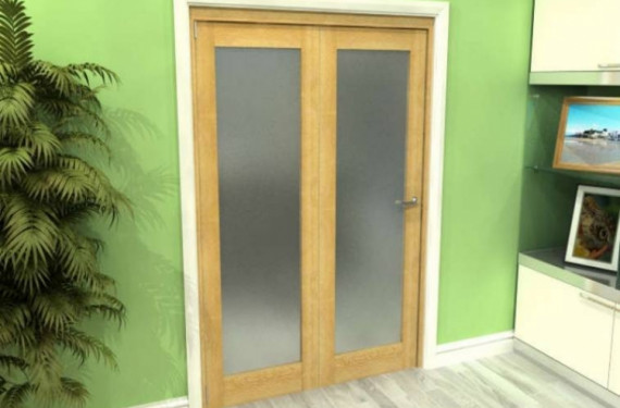 Frosted Glazed Oak 2 Door Roomfold Grande (2 + 0 X 762mm Doors)