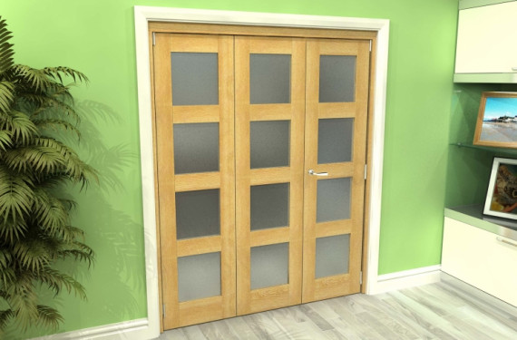 Frosted Glazed Oak 3 Door 4l Roomfold Grande 1800mm (6ft) 2 + 1 Set