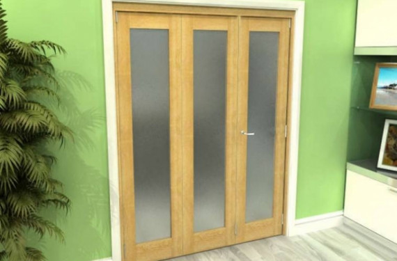 Frosted Glazed Oak 3 Door Roomfold Grande 1800mm (6ft) 2 + 1 Set