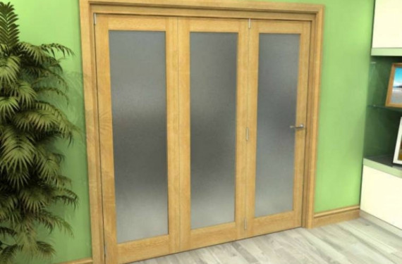 Frosted Glazed Oak 3 Door Roomfold Grande (3 + 0 X 762mm Doors)
