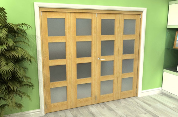Frosted Glazed Oak 4 Door 4l Roomfold Grande 2400mm (8ft) 2 + 2 Set