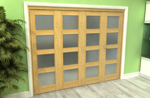 Frosted Glazed Oak 4 Door 4l Roomfold Grande (3 + 1 X 610mm Doors)