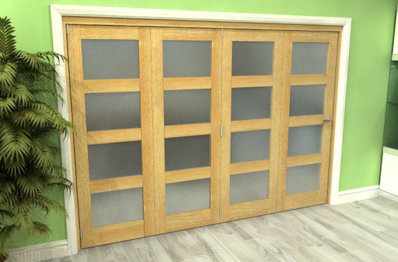 Frosted Glazed Oak 4 Door 4l Roomfold Grande (4 + 0 X 762mm Doors)