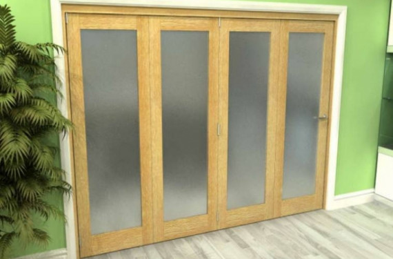 Frosted Glazed Oak 4 Door Roomfold Grande (4 + 0 X 762mm Doors)