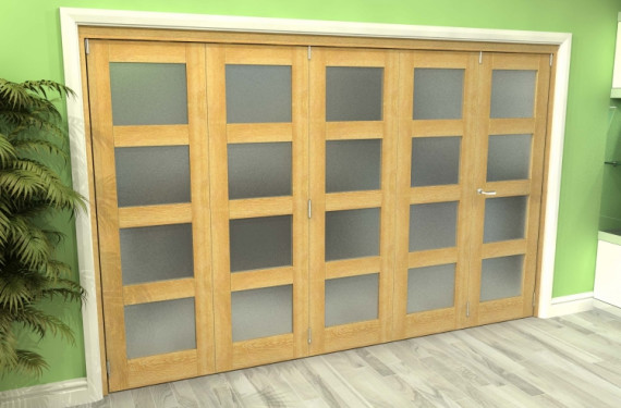 Frosted Glazed Oak 5 Door 4l Roomfold Grande (4 + 1 X 686mm Doors)