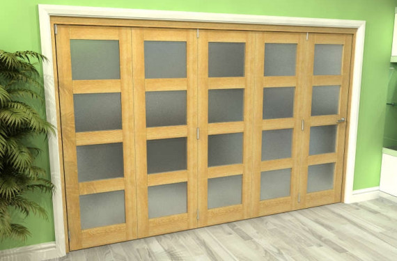 Frosted Glazed Oak 5 Door 4l Roomfold Grande (5 + 0 X 762mm Doors)