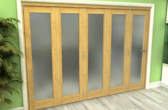 Frosted Glazed Oak 5 Door Roomfold Grande 3000mm (10ft) 5 + 0 Set
