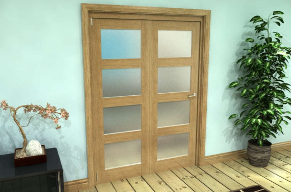 Frosted Glazed Oak Prefinished 2 Door 4l Roomfold Grande (2 + 0 X 686mm Doors)
