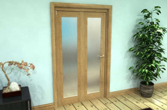 Frosted Glazed Oak Prefinished 2 Door Roomfold Grande (2 + 0 X 533mm Doors)