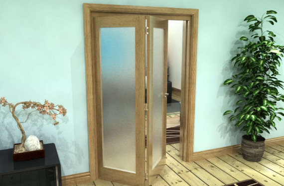 Frosted Glazed Oak Prefinished 2 Door Roomfold Grande (2 + 0 X 610mm Doors)