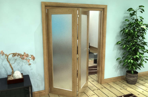 Frosted Glazed Oak Prefinished 2 Door Roomfold Grande (2 + 0 X 762mm Doors)