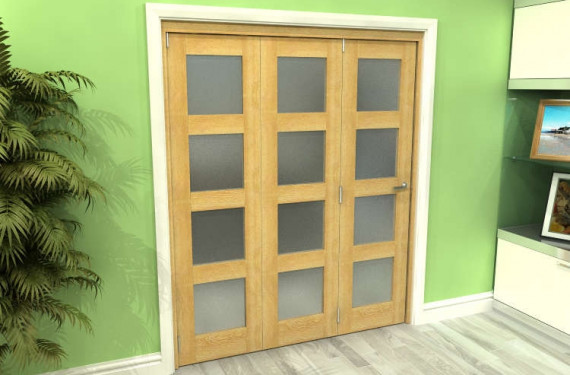 Frosted Glazed Oak Prefinished 3 Door 4l Roomfold Grande 1800mm (6ft) Set