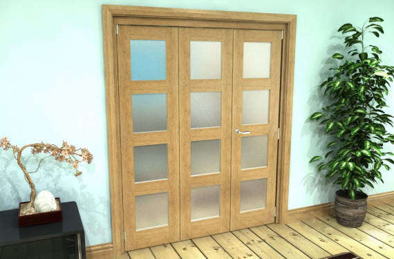 Frosted Glazed Oak Prefinished 3 Door 4l Roomfold Grande (2 + 1 X 533mm Doors)