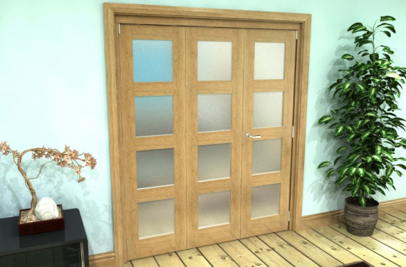 Frosted Glazed Oak Prefinished 3 Door 4l Roomfold Grande (2 + 1 X 762mm Doors)