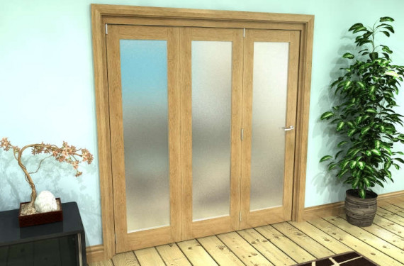 Frosted Glazed Oak Prefinished 3 Door Roomfold Grande (3 + 0 X 610mm Doors)