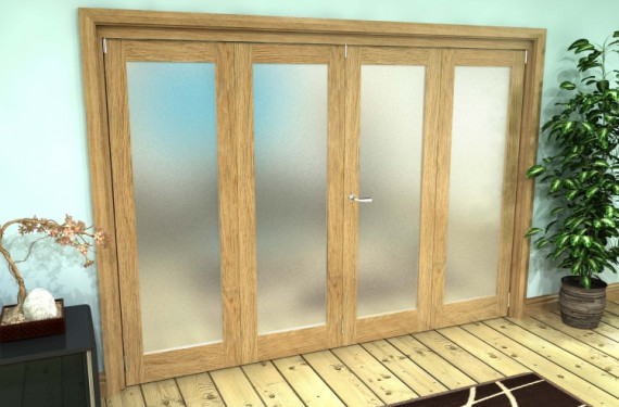 Frosted Glazed Oak Prefinished 4 Door Roomfold Grande (2 + 2 X 762mm Doors)