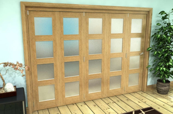 Frosted Glazed Oak Prefinished 5 Door 4l Roomfold Grande (5 + 0 X 686mm Doors)