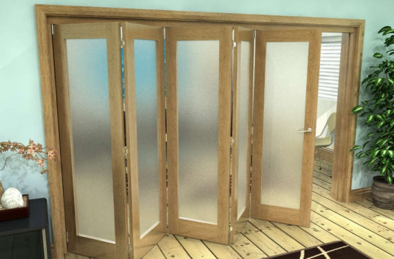 Frosted Glazed Oak Prefinished 5 Door Roomfold Grande (5 + 0 X 762mm Doors)