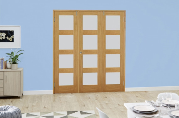Frosted Glazed Oak Unfinished 4l 3 Door Shaker Frenchfold (3 X 1'9