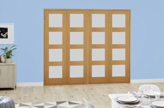Frosted Glazed Oak Unfinished 4l 4 Door Shaker Frenchfold (4 X 2'3