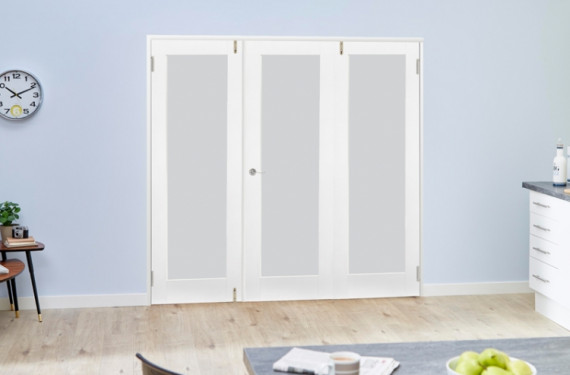 Frosted Glazed White Primed Shaker 3 Door Frenchfold (3 X 1'9