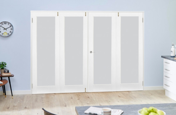 Frosted Glazed White Primed Shaker 4 Door Frenchfold (4 X 2'0