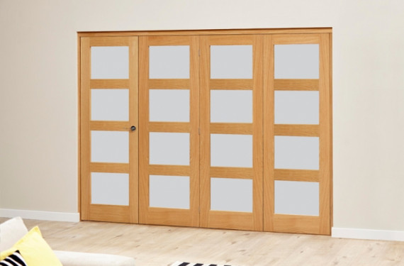 Frosted Prefinished 4l Roomfold Deluxe (4 X 762mm Doors)
