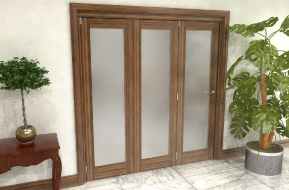 Frosted Walnut Glazed Prefinished 3 Door Roomfold Grande 1800mm (6ft) 3 + 0 Set