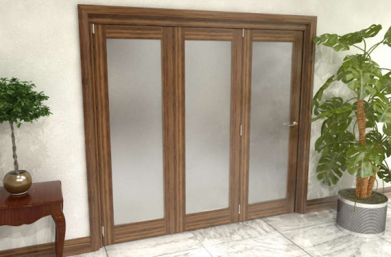Frosted Walnut Glazed Prefinished 3 Door Roomfold Grande (3 + 0 X 686mm Doors)