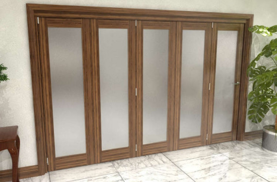 Frosted Walnut Glazed Prefinished 5 Door Roomfold Grande (5 + 0 X 762mm Doors)
