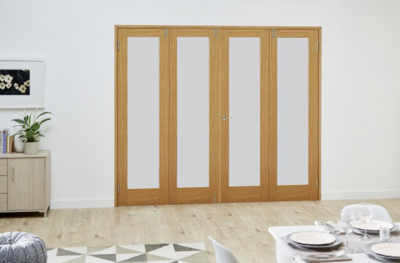 Glazed Oak - 4 Door Frosted Frenchfold (4 X 1'9