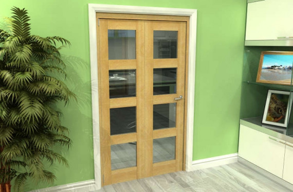 Glazed Oak 2 Door 4l Roomfold Grande (2 + 0 X 533mm Doors)