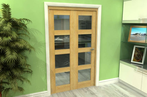 Glazed Oak 2 Door 4l Roomfold Grande (2 + 0 X 573mm Doors)