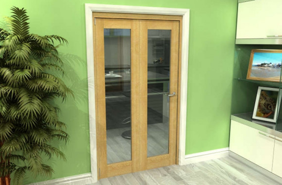 Glazed Oak 2 Door Roomfold Grande (2 + 0 X 533mm Doors)