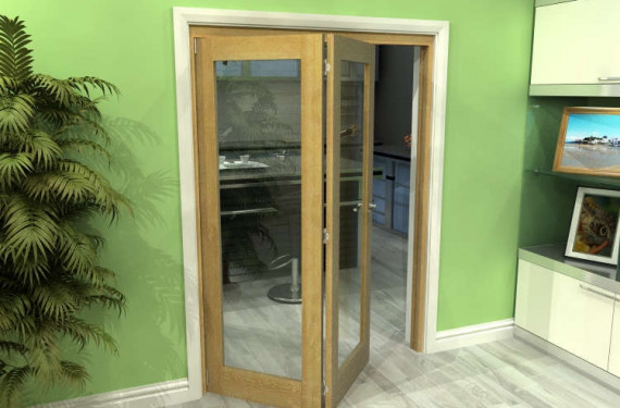 Glazed Oak 2 Door Roomfold Grande (2 + 0 X 686mm Doors)