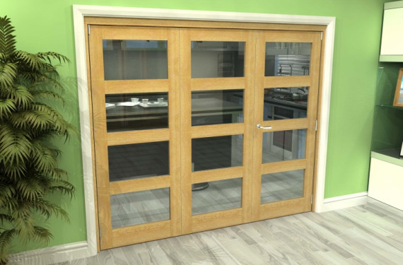 Glazed Oak 3 Door 4l Roomfold Grande (2 + 1 X 762mm Doors)