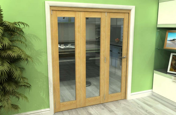 Glazed Oak 3 Door Roomfold Grande 1800mm (6ft) 3 + 0 Set