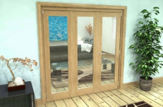 Glazed Oak 3 Door Roomfold Grande 2 + 1 X 1800mm (6ft) Set