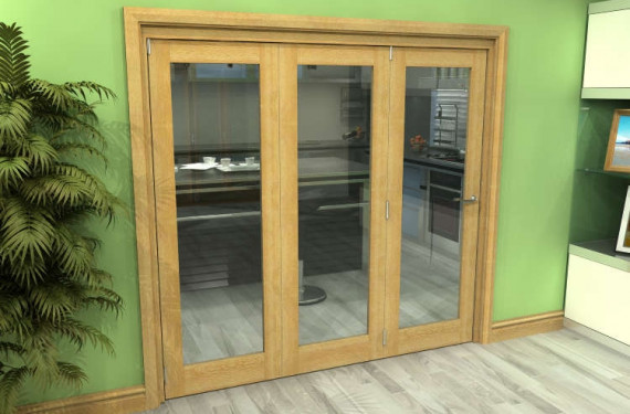 Glazed Oak 3 Door Roomfold Grande (3 + 0 X 686mm Doors)
