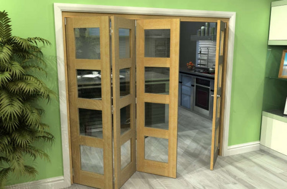 Glazed Oak 4 Door 4l Roomfold Grande 2400mm (8ft) 3 + 1 Set