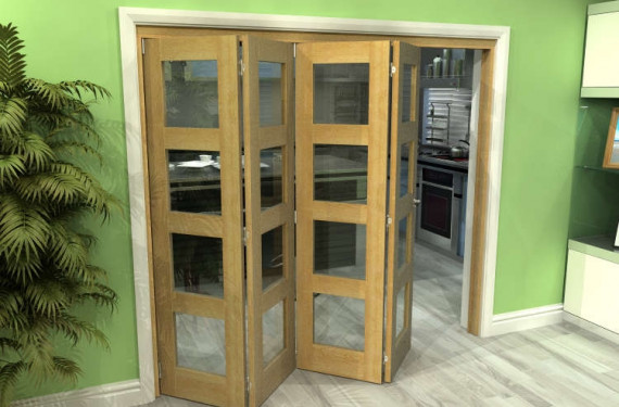 Glazed Oak 4 Door 4l Roomfold Grande 2400mm (8ft) 4 + 0 Set