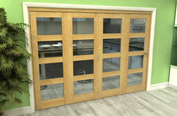 Glazed Oak 4 Door 4l Roomfold Grande (4 + 0 X 686mm Doors)