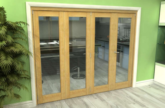 Glazed Oak 4 Door Roomfold Grande (3 + 1 X 610mm Doors)