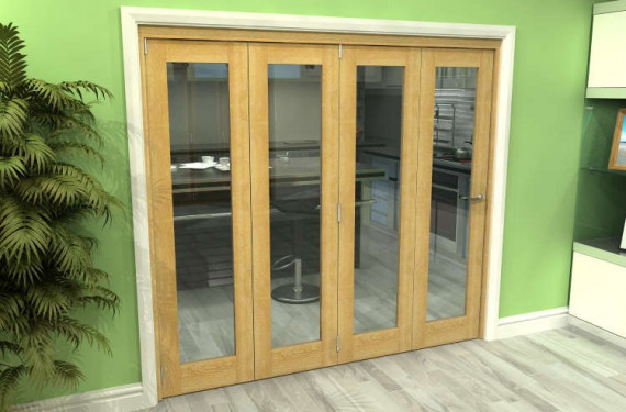 Glazed Oak 4 Door Roomfold Grande (4 + 0 X 533mm Doors)