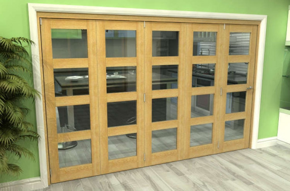 Glazed Oak 5 Door 4l Roomfold Grande (5 + 0 X 610mm Doors)