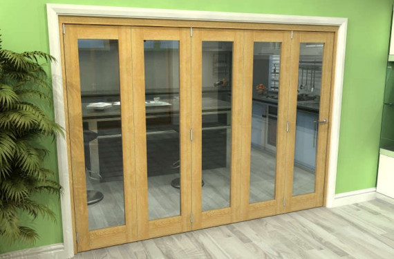 Glazed Oak 5 Door Roomfold Grande (5 + 0 X 533mm Doors)