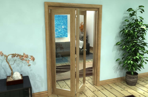 Glazed Oak Prefinished 2 Door Roomfold Grande (2 + 0 X 573mm Doors)