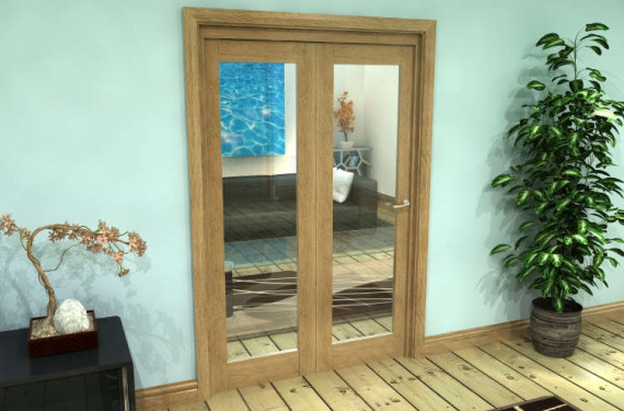 Glazed Oak Prefinished 2 Door Roomfold Grande (2 + 0 X 610mm Doors)