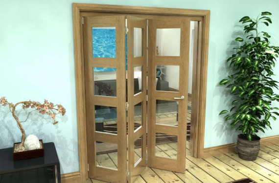 Glazed Oak Prefinished 3 Door 4l Roomfold Grande (3 + 0 X 533mm Doors)